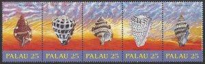 Palau #216a MNH strip of 5, sea shells, Issued 1989