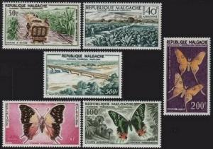 Malagasy C61-C66,MNH.Michel 455-460. Sugar cane,Tobacco,Butterflies,Bridge.1960.