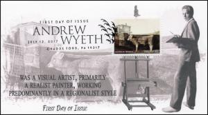 17-163, 2017, Andrew Wyeth, Artist, Painter, FDC, Pictorial, Chadds Ford PA