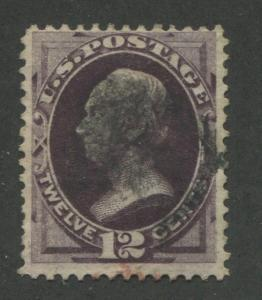1874 US Stamp #162 12c Used F/VF Faded Cancel Catalogue Value $135