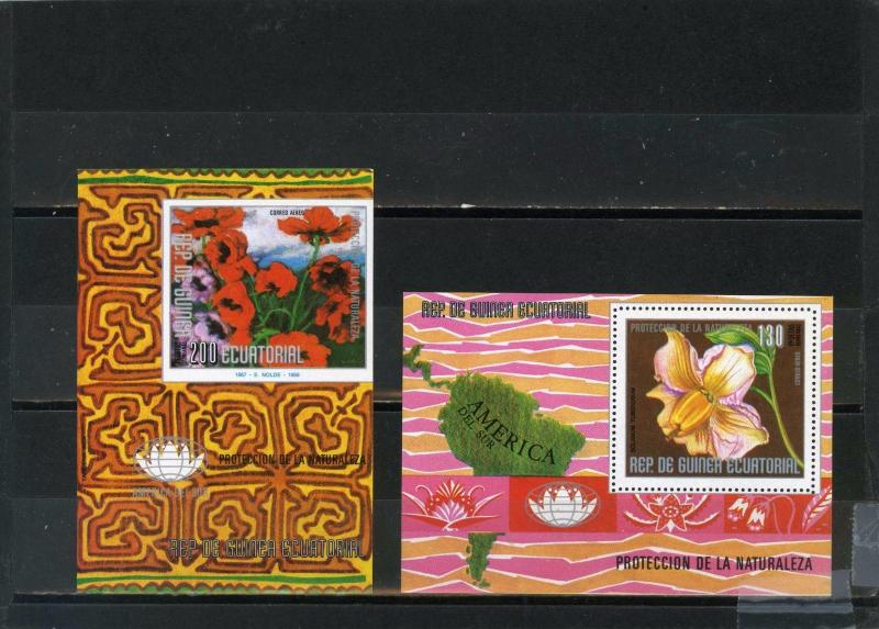 EQUATORIAL GUINEA FLOWERS OF SOUTH AMERICA 2 S/S PERF. & IMPERF.MNH