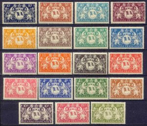 French Guiana 173-191 MNH OG 1945 Arms of Cayenne Full 19 Stamp Set Very Fine