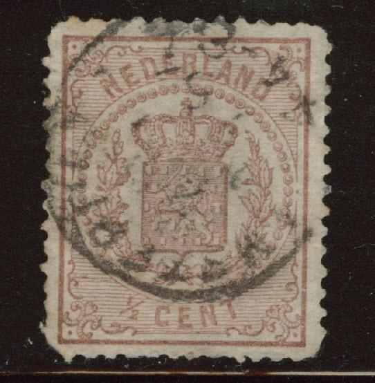 Netherlands Scott 17 used 1869 Coat of Arms stamp