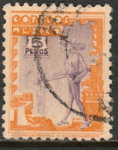 MEXICO 800A, $5P 1934 Definitive. Charro. Used. F-VF. (790)