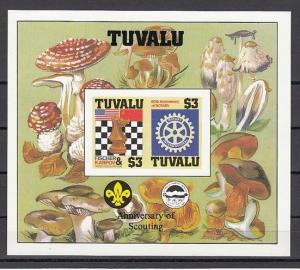 Tuvalu, Scott cat. 352 A. Chess & Rotary, IMPERF s/sheet with Scout Logo. ^