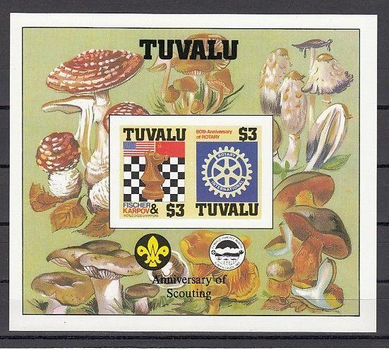 Tuvalu, Scott cat. 352 A. Chess & Rotary, IMPERF s/sheet with Scout Logo..