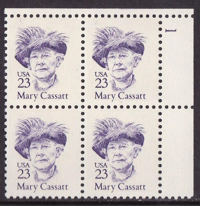 United States Great Americans 1986-94 23c Mary Cassatt Plate Block Nr. VF/NH