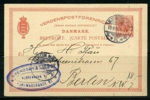 DENMARK COPENHAGEN 9/19/1906 STATIONERY POSTCARD TO BERLIN 9/22/1906 AS SHOWN
