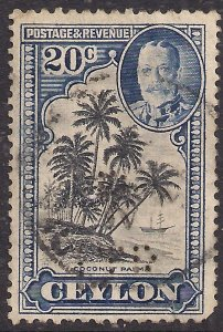 Ceylon 1935 - 36 KGV 20ct Black & Blue used SG 374 ( E1225 )