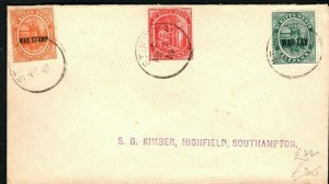 ST KITTS & NEVIS Cover WAR TAX Overprints GB Southampton 1919{samwells}PB311