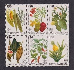 Vatican City   #910  MNH  1992  plants of the New World. block of 6