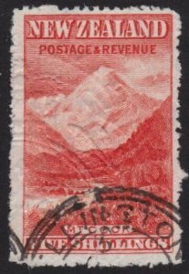NEW ZEALAND 1898 5/- Mt Cook fiscally used - faults.........................6021