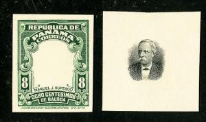 Panama Stamps VF 8¢ Green Vignette Proofs on Cards Missing Vignette & Essay