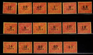 French Indo-China Scott J57-J72A MH* Postage dues Black Overprints
