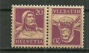 1921 Switzerland 20F William Tell tête bêche pair MNH