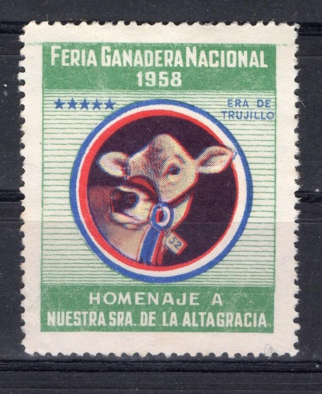 DOMINICAN REPUBLIC CATTLE HEAD COW CINDERELLA POSTER STAMP NO GUM