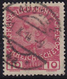 Austria - 1908 - Scott #115 - used - AUSSIG 2 pmk Czech Republic