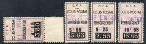 Algeria: 1941 Railway Parcel ovpt. group (4) ex My. 90-94 mint