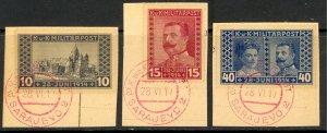 BOSNIA AND HERZEGOVINA 1917 ARCHDUKE MEMORIAL Semi Postal Set Sc B13a-B15a VFU