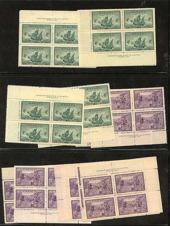 Canada - 1949 Cabot's Ship & Founding of Halifax Plate Blks
