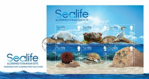 Stamps Alderney 2020. Marine life in the Primorsky Territory. Envelope of the fi