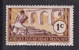 French Equatorial Africa   #33   MH  1937 logging Loeme river 1c