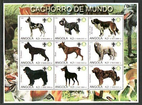 Angola, 2000 Cinderella issue. Large Dogs, Horizontal sheet. Scout Logo.