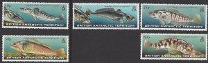 British Antarctic Territory #275-9 MNH set, various fish, issued 1999