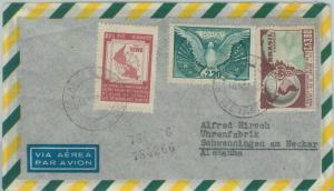 74398 - BRAZIL - POSTAL HISTORY -  AIRMAIL COVER to GERMANY 1952  BIRDS Medicine