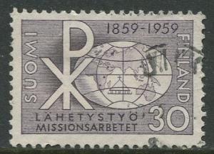 Finland - Scott 359 - Chrismon and Globe -1959- Used - Single 30m Stamp