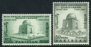 Pakistan 209-210, MNH. Mausoleum of Mohammed Ali Jinnah, pres. of Pakistan, 1964
