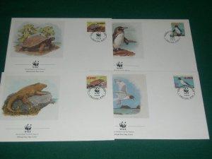1992 ECUADOR  -  GALAPAGOS WILDLIFE - WORLD WILDLIFE FUND 4 x FIRST DAY COVERS