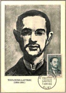 90038 - FRANCE - Postal History - FDC MAXIMUM CARD 1958  Art TOULOUSE-LAUTREC