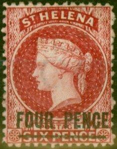St Helena 1864 4d Carmine SG13 Type A Fine & Fresh Mtd Mint