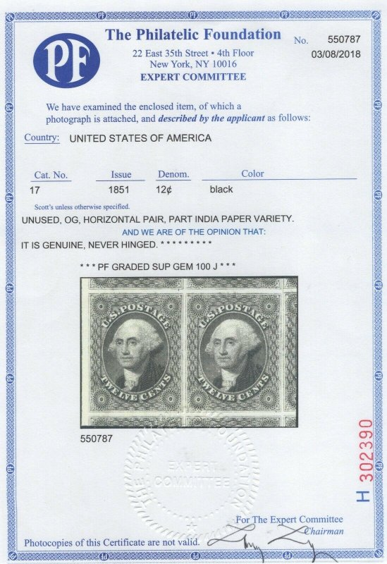 #17 Mint Pair 100J Guaranteed Finest in Existence - Parts of 9 Stamps (GD 6/25)