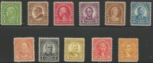 Scott #632 - 642  Unused 1926 Regular Issue Set