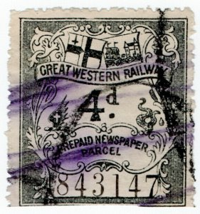 (I.B) Great Western Railway : Prepaid Newspaper Parcel 4d