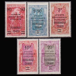 UBANGI-SHARI 1927 - Scott# 77-81 Woman etc.Opt. Set of 5 LH
