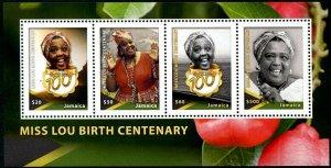 HERRICKSTAMP NEW ISSUES JAMAICA Miss Lou Souvenir Sheet