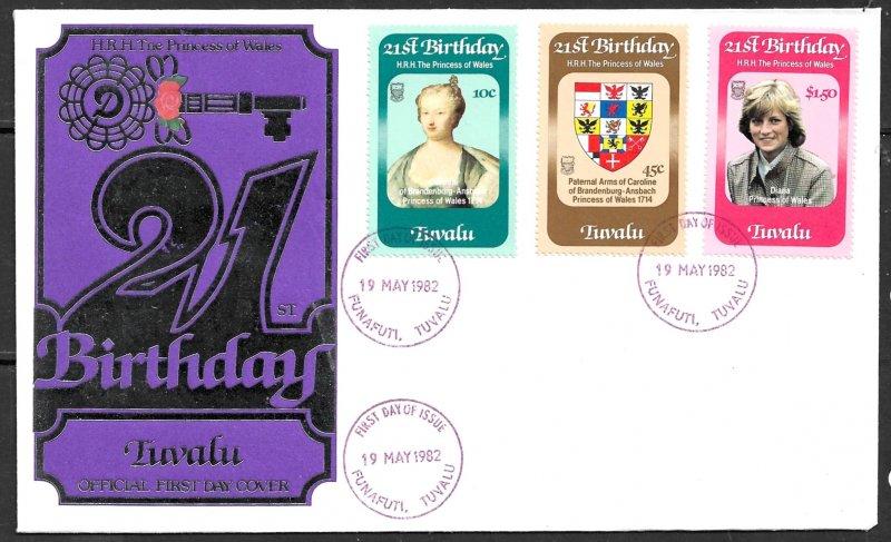 TUVALU 1982 Princess Diana 21th Birthday Set Sc 170-172 Cachet FDC