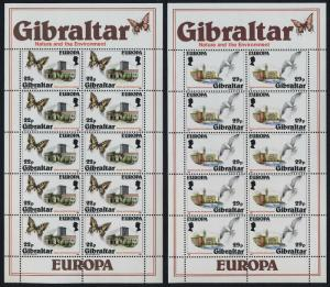 Gibraltar 483-4 sheets MNH EUROPA, Butterfly, Birds, Architecture