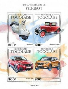 Togo - 2020 Peugeot Automobile Anniversary - 4 Stamp Sheet - TG200126a