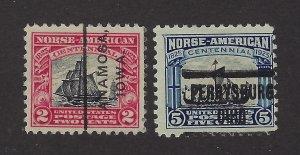 United States Scott 620-621 Norse American set used precancel?