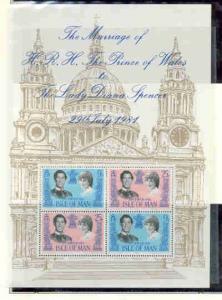 Isle of Man Sc198a 1981 Diana & Charles Wedding stamp sheet