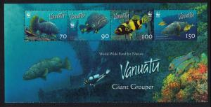 Vanuatu WWF Giant Grouper Top Strip of 4v SG#983 MI#1304-1307 SC#908