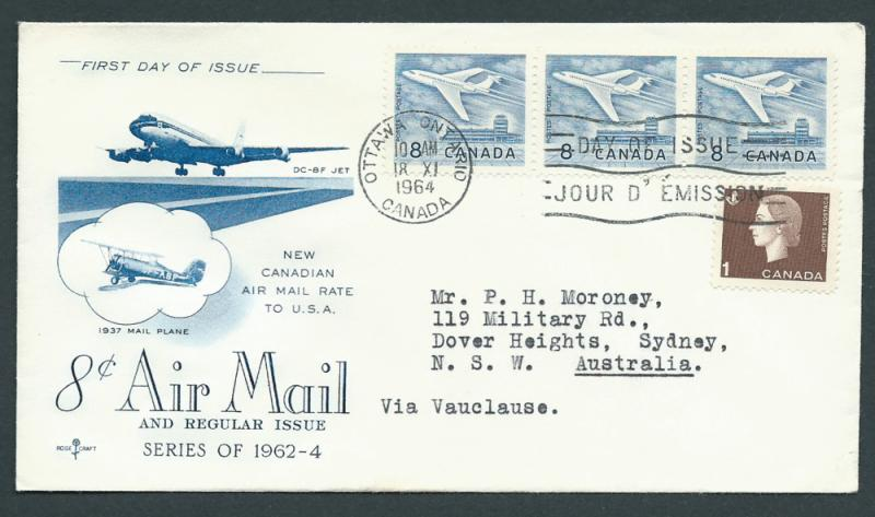 Canada  aircraft SG 540a  block of 3 and  527  FDC FU