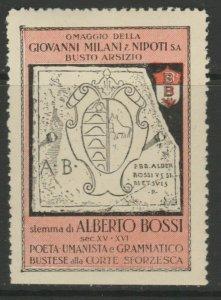 Giovanni Milani A. Bossi Poet Cinderella Poster Stamp Reklamemarken A7P5F851