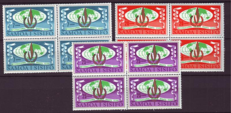 J19627 Jlstamps 1968 samoa set blk,s/4 mnh #296-7 human rights