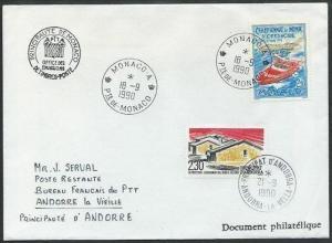 ANDORRA 1990 2f30 as postage due on cover ex MONACO................38217