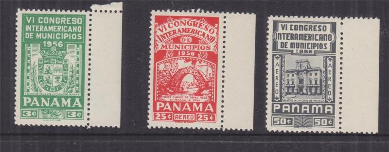 PANAMA, 1956 Congress of Municipalities set of 3, marginal lhm.